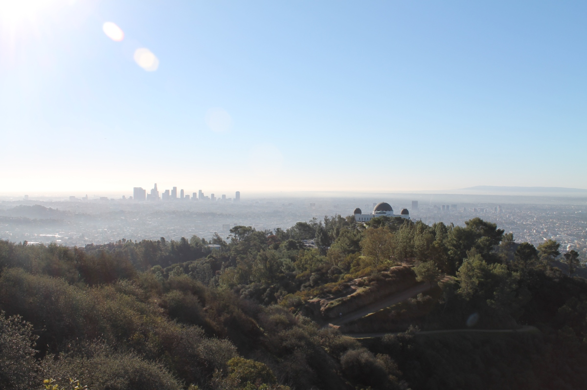 Griffith Park observatory and downtown LA