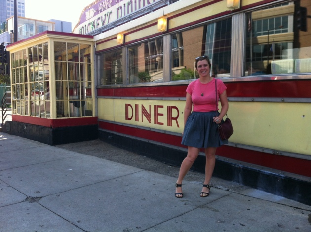 In front of Mickey's Dining Car in St. Paul, Minnesota