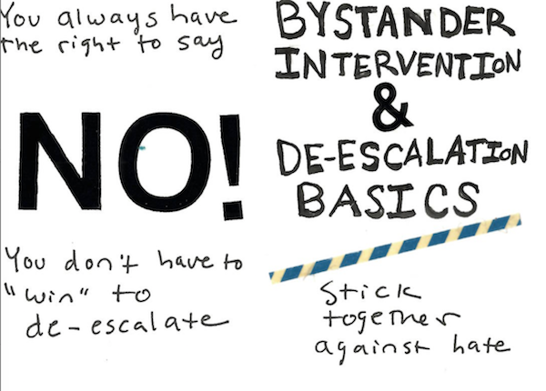 front and back of Bystander Intervention & De-escalation zine by Eleanor Whitney